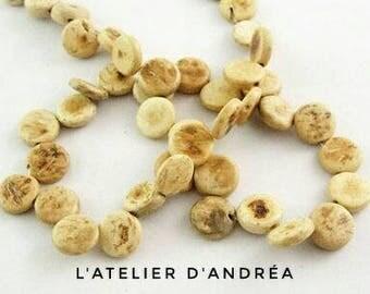 30 beads/connectors /palet /noix coconut/10.5 x 3 mm