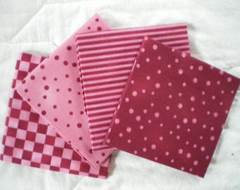 Fat quarter set of 4 pink and raspberry