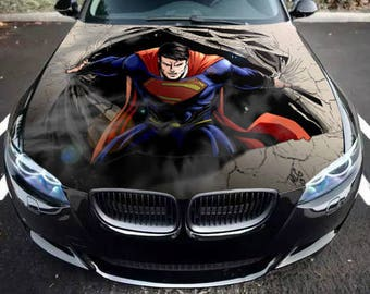 Vinyl Car Hood Bonnet Superman Man Of Steel Graphics Decal Sticker fit any Auto