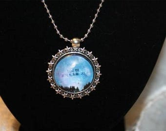 Moon and Earth pendant chain necklace