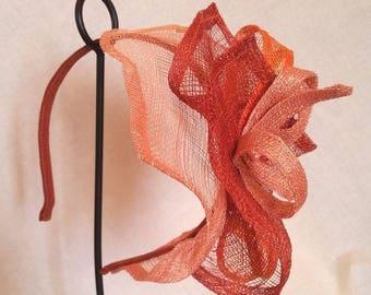 Coral sinamay bridal headband
