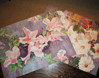 Pair of Glenny Brazy Lithographs Japanese Azaleas Chinese Rhododendron Floral Flowers  Signed #'d ART