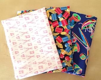 Sewing Supplies Themed Mini Scrap Fabric Bundle