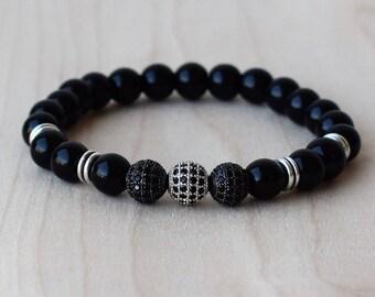 Mens Beaded Bracelets, Mens Bracelet, Mens Energy Bracelet, CZ Beaded Bracelets, Elegant Bracelet, Black Onyx Bracelet, Men Bracelet Gift