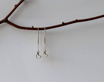 Silver Heart Earrings,Heart Drop Earrings, Heart Earrings, Sterling Silver Earrings, Dangle and Drop Earrings, Sterling Silver Long Earrings