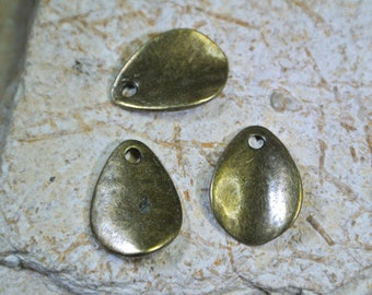 Set of 20 charms in Teardrop, bronze metal, 17 x 13 mm, 1.5 mm hole