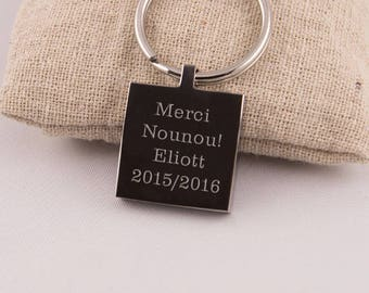 Key chain engraved personalized thank you text nanny