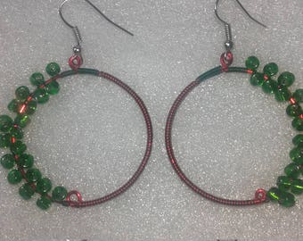 Christmas themed hoop earrings wire wrapped red and green
