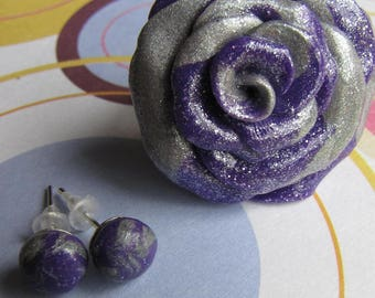Flowers purple and Silver earrings and ring set