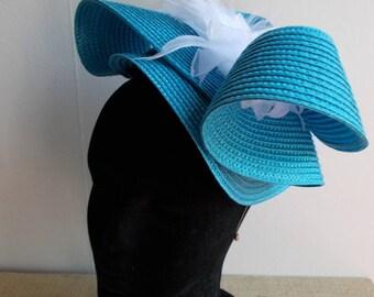 Bibi fascinator headdress turquoise wedding ceremony
