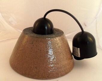 Hanging ceiling lighting ceramic raku, raku pottery light pinkish brown