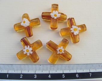 Lot 5 beads of mouse with 5 transparent amber Murano beads with a Daisy on the top 30mm long