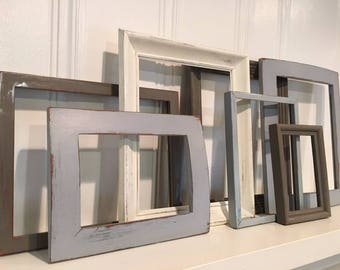 Blue and Gray frame collection - Gallery Wall - Distressed Frames - Farmhouse Frames - Upcycled Frames - Wall Decor - Nursery Decor