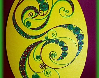 * PROMOTION * unique oval table spirals and circles in paper glaze
