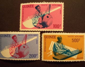 Musical Instruments*Air Mail Stamp Set*Guinea Postage Stamps 1962*Scott #236-247*MLH*Complete Set