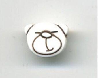 Little white bear head button