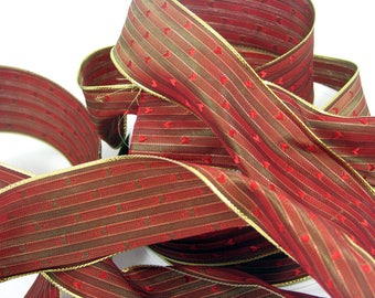 Brass Ribbon red and gold hearts
