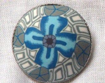 Resin flower button blue Art Deco 22 mm