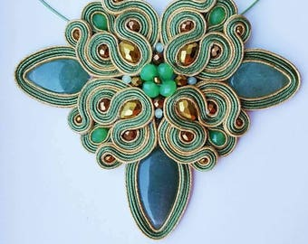 "Soutache necklace ""Poisnous Ivy"""