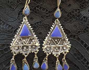 Earrings silver and Lapis Lazuli - design ethnic