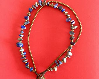 Anklet-boho - lapis lazuli and antique gold metal jewelry