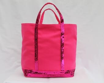 The tote bag Fuchsia glitter/sequins round (3rangees)