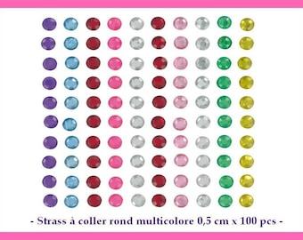 Paste rhinestone round multicolored 0.5 cm x 100 pcs - new