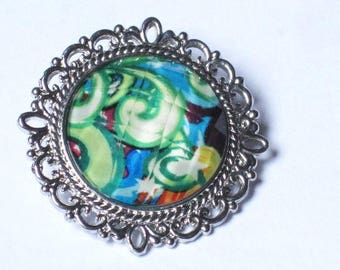 """Snap button """"Ornate spiral pattern, your green/blue"""", size S"""