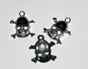 Set of 30 silver skull charms, skull 2 cm