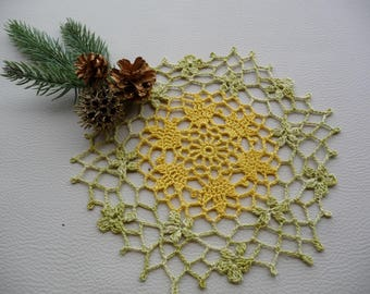 Handmade small doily yellow and green