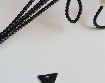 Sequin black and silver triangle shape