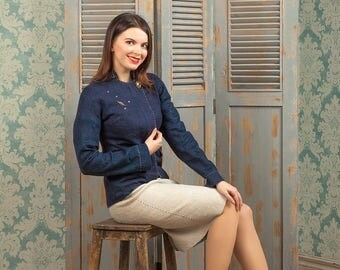 Wool suit cloth designe blue beige color handmade