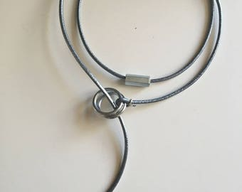 "Women gray leather necklace metallic Steal Leather collection""free shipping"
