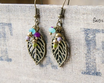 Earrings Bohemian short multicolored jade leaves