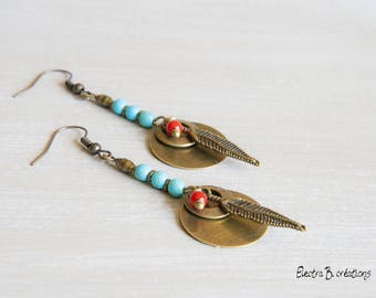 """""""Yankee"""", turquoise and Red Feather long earrings"""