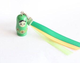 Keychain grigri green MATRYOSHKA and ribbons