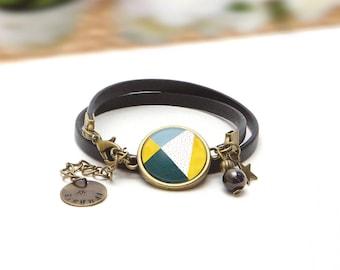 Bracelet 2 laps black leather and cabochon blue pattern