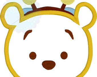 Winnie the Pooh Bee Tsum Tsum Inspired machine embroidery applique design Instant Download