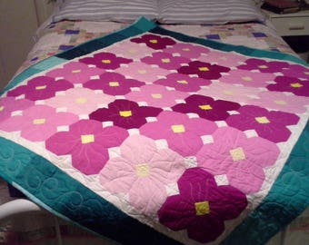 baby quilt, new, cottage, modern, cotton, pinks and turquoise