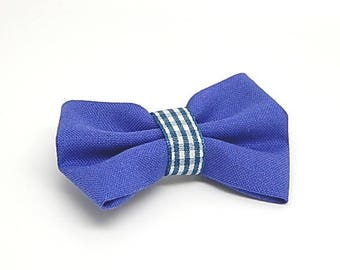 Royal blue bow brooch with gingham printed Ribbon