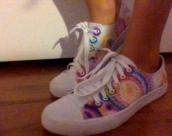 Rainbow Dotted Tie Dye Shoes