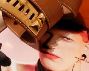 VINTaGE HERMES BELT LEATHER CdC MEDoR Golden Studs Necklace beige Strap Collier De Chein Bracelet Jewelry Cuff HERMEs Birkin Kelly Handbag