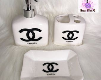 3pc  Ceramic Bathroom Set | Bathroom Accessories Decor | Toothbrush Holder | Soap Dispenser | Soap Dish | Designer Inspired