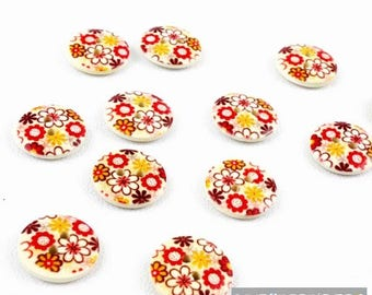 Set of 10 buttons round wood 18 mm 2 holes for sewing flower pattern, scrapbooking