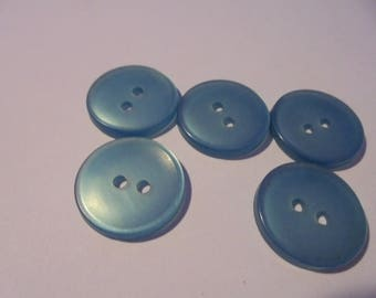 Set of 5 round blue buttons plastic 18 mm