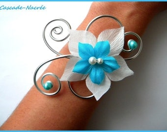 aluminum silver Pearl wedding white turquoise plum silk flower bridal bracelet
