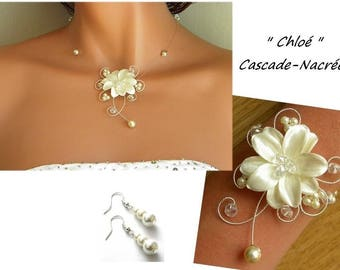 Chloe Crystal Ivory Pearl silver foil wedding bridal flower jewelry set