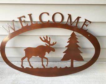 "Moose Welcome, Cabin Welcome, ""Metallic Copper Rust"", Rustic"