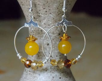 Yellow flower and Crystal hoop earrings