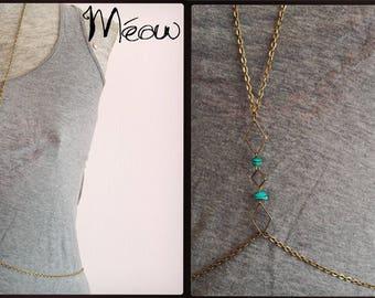 """Geometric turquoise"" body jewelry"